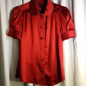 Banana Republic red silk blouse